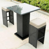 High-End Outdoor / Indoor Pub Bistro Furniture Rattan Bar Chair and Table