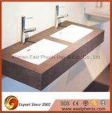 Vente chaude Beige Salle de bains en pierre de la vanité de quartz haut de page