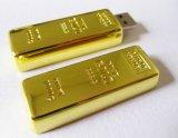 Laser 조각 로고 고품질 골드 바 모양 USB 섬광 드라이브