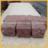 División natural de granito rojo/Cubestone cúbicos para jardín horizontal/Acera pavimentación