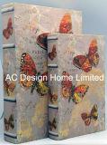 Bello contenitore di libro di legno di memoria di stampa di disegno Canvas/MDF della farfalla S/2
