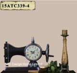 Decoración Vintage de metal de forma de costura antiguo negro reloj de mesa