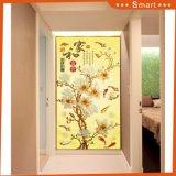 Pintura al óleo de lujo de las decoraciones de la puerta del diseño de la flor de la decoración de la pared 3D