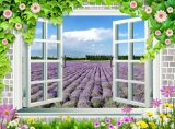 Window Beautiful Sightseeing Lavender Garden 3D Oil Painting for Wall