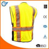Maglia riflettente di sicurezza della maglia respirabile del codice categoria 2 con la chiusura lampo resistente