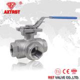 CF8m 3 ISO 5211 с плавающей запятой L/T сократить порт резьбового шарового клапана