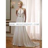 a - línea vestido de boda delgado de Women&acutes del satén con el cristal
