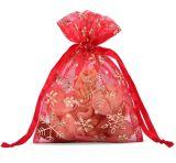 贅沢は刺繍する結婚式(COB-1136)のためのオーガンザ袋のサテンのギフトの袋の好意袋を