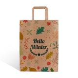 Platte Kraft Paper Handle Take Away-pakkettas voor winkelen