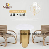Простой мебелью для отдыха круглый мраморный верхней части золотого цвета из нержавеющей стали Кафе стороны положить конец таблицы