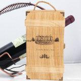 Logotipo ecológico Impresso Embalagem de vinho de madeira personalizada em acabamento diferente