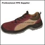 スエードの穴が付いている革通気性の夏の安全靴
