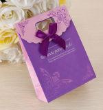 Brown Kraft imprime o saco cosmético revestido relativo à promoção da embalagem da jóia do portador de papel de arte da mão de papel do presente da compra com corda de nylon do algodão (E30)
