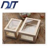 Rectángulo de almacenaje de madera de escritorio de cristal a prueba de polvo transparente
