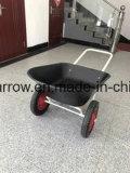 L'azienda agricola lavora doppio la carriola placcata delle rotelle 80L zinco resistente (WB6430)
