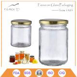 vasi di vetro del miele di figura rotonda 300ml, bottiglia del miele