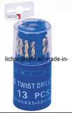 Los pedacitos de taladro de la torcedura del HSS 13PCS fijaron con el paquete plástico