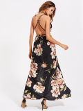 Strappy rückseitige Höhen-Schlitz Florals Frauen-Kleider en gros tauchen