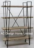 4つの層の旧式な型の装飾的な木または金属の棚の表示