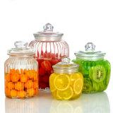 Cristalleria di vetro dell'articolo da cucina di immagazzinamento in il vaso di Ribbled 4sets 2.2L