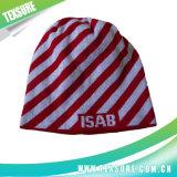 Chapéus feitos malha do jacquard Beanie acrílico listrado com bordado do logotipo (022)