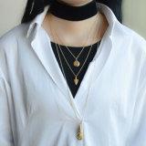 Colar geométrica Chain chapeada ouro do Choker de veludo dos pendentes das colares