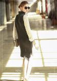 نساء طويلة كشمير ثوب بدون كم سلحفاة عنق [16بردو013]