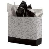 Grandes negro y plata Swirl papel comprador impreso regalo bolsas