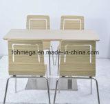 Mesa de jantar de madeira compensada de corte de comida com 4 cadeiras (FOH-NCP7)