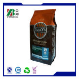 Sacs de empaquetage de café latéral de gousset avec le dessus de relation étroite de bidon