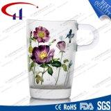 tazza di vetro del fiore stampata 340ml per tè (CHM8094)