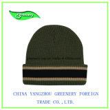 ジャカード白い昇進の冬の帽子のニットの帽子