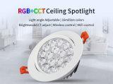 Brillo elegante de 9W RGB y proyector ajustable del techo del CCT LED