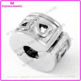 Selo de coração em aço inoxidável Charms Hole Jóias Bead for Bracelet
