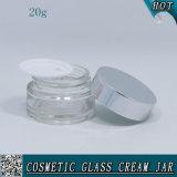 20ml cancelam o frasco de creme de vidro cosmético com tampas de alumínio