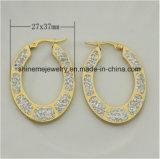 De Gouden Oorring Van uitstekende kwaliteit van het Plateren van het Roestvrij staal van de Juwelen van Shineme (ERS6973)