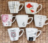 Wholesale Glaze Painting Style Silk screen Coffee Mugs with Spoon