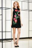 Безрукавный вышивка размещения линия платье сплетенное туникой