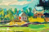 水彩画の田舎概要のキャンバスプリント