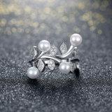 Monili d'argento puri delle donne dell'argento sterlina dell'anello 925 di figura del fiore e della pera
