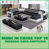 Sofá secional de couro moderno da mobília de madeira popular