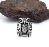 大きいフクロウのステンレス鋼の宝石類の方法人のリング型の銀