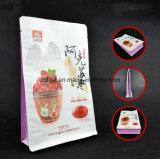 Fondo plano se levanta la bolsa de papel de aluminio Zip Lock café bolsa / Papel Kraft laminado vertical de Alimentos bolsa de plástico para las fechas rojas
