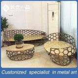 Novo Estilo de 3+2+1 chá de Aço Inoxidável Mesa com cadeira Special-Shaped
