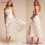 3D цветет без бретелек платье венчания Ча-Длины