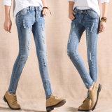 2017 женщин моды Ripped Skinny джинсы