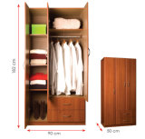 メラミンによって薄板にされるMFCの木の衣服の収納キャビネット/Wardrobe (HX-DR314)