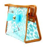 Sac cosmétique de PVC de configuration de mode d'usine de sac imperméable à l'eau multi de renivellement transparent