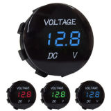 DC 12V-24V vermelho impermeável LED Digital Display Voltímetro Soquete para Veículo Motorcycle Car Round Panel Voltage Meter Gauge Tester