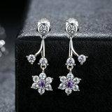earrings 925 순은 보석 꽃 숙녀